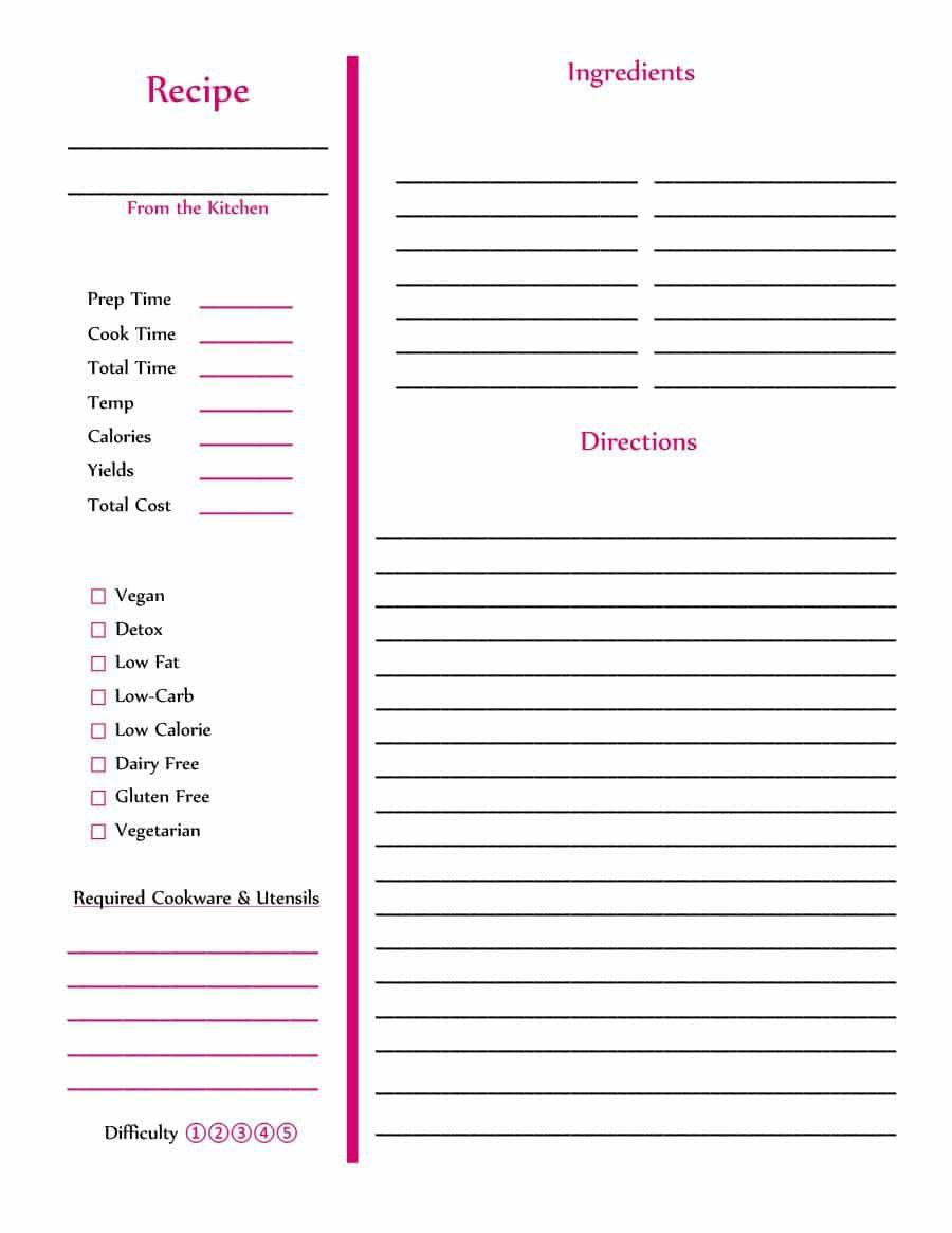 002 Striking Full Page Recipe Template High Definition  Card For Word Free EditableFull
