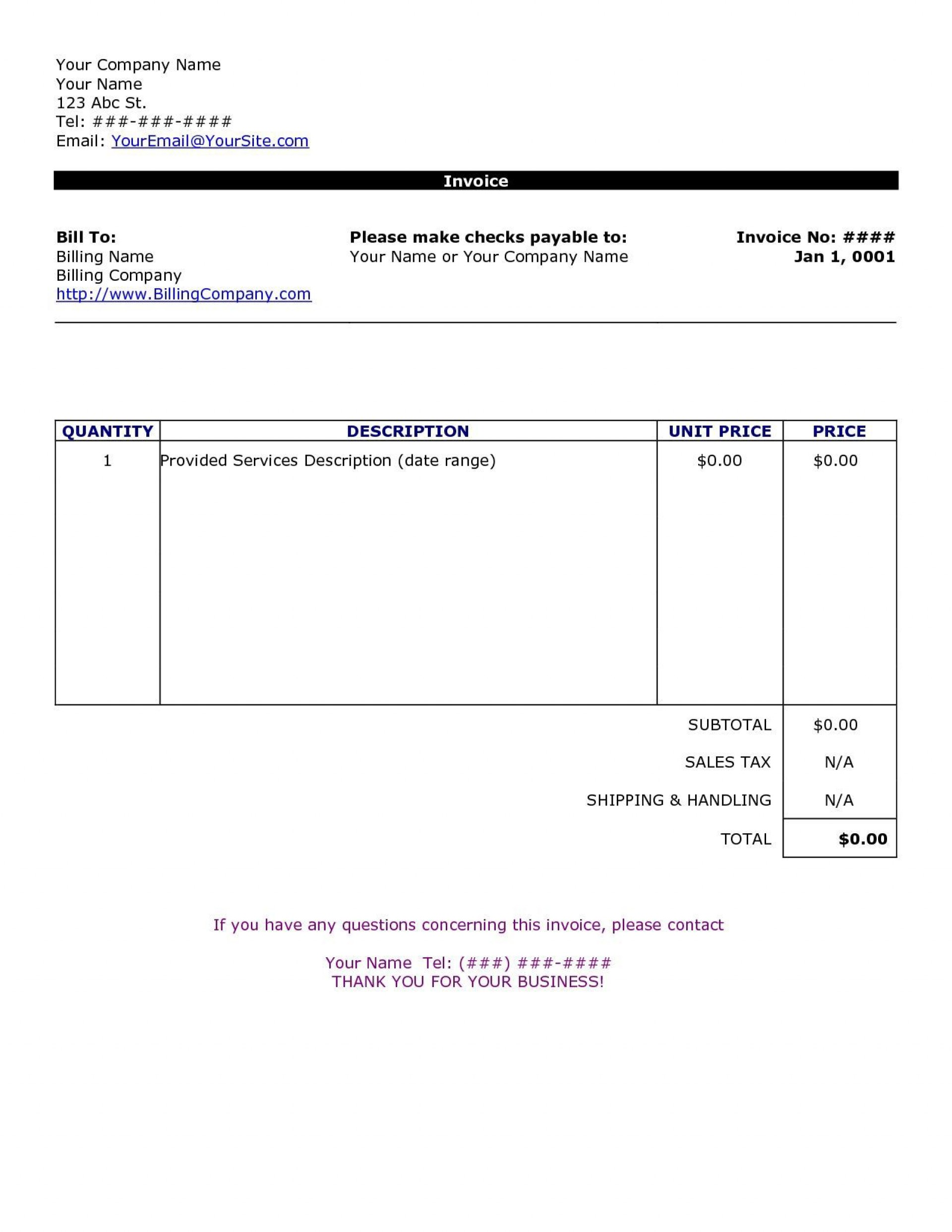 002 Striking Invoice Template Free Word High Definition  Sample Microsoft Simple1920