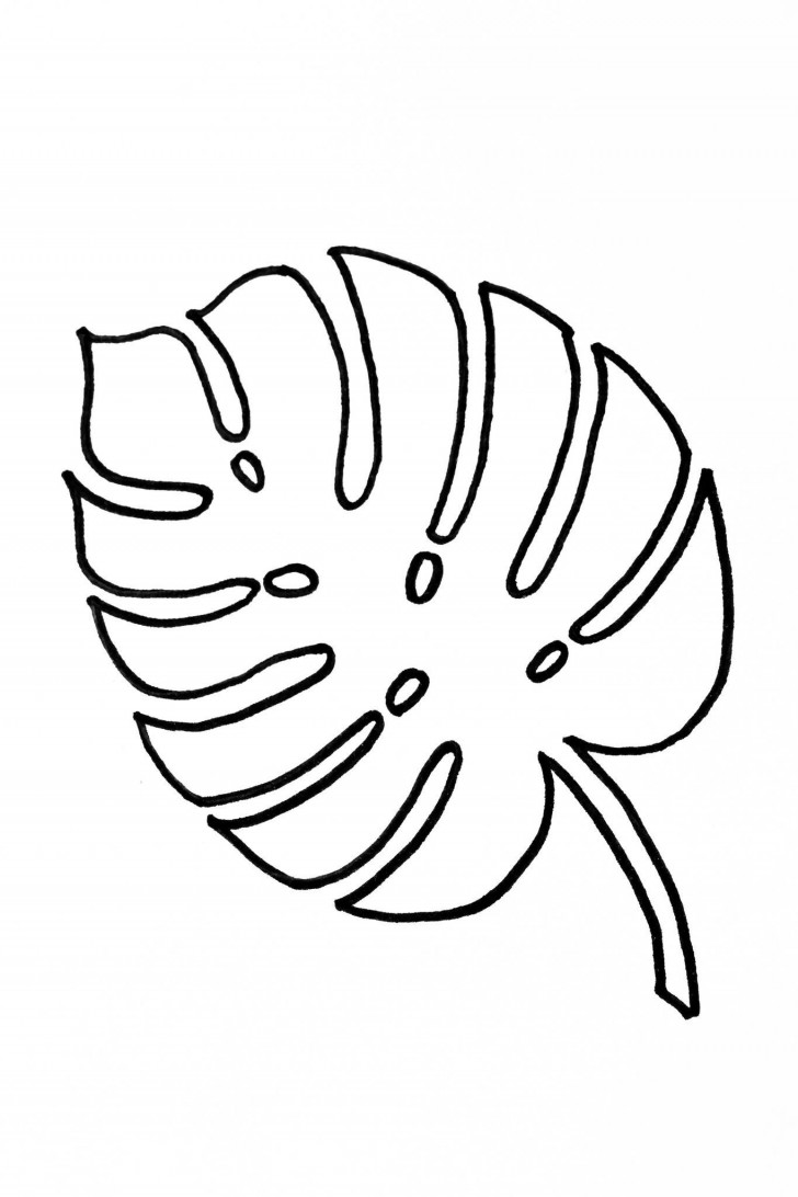 002 Striking Leaf Template With Line Idea  Fall Printable Blank728
