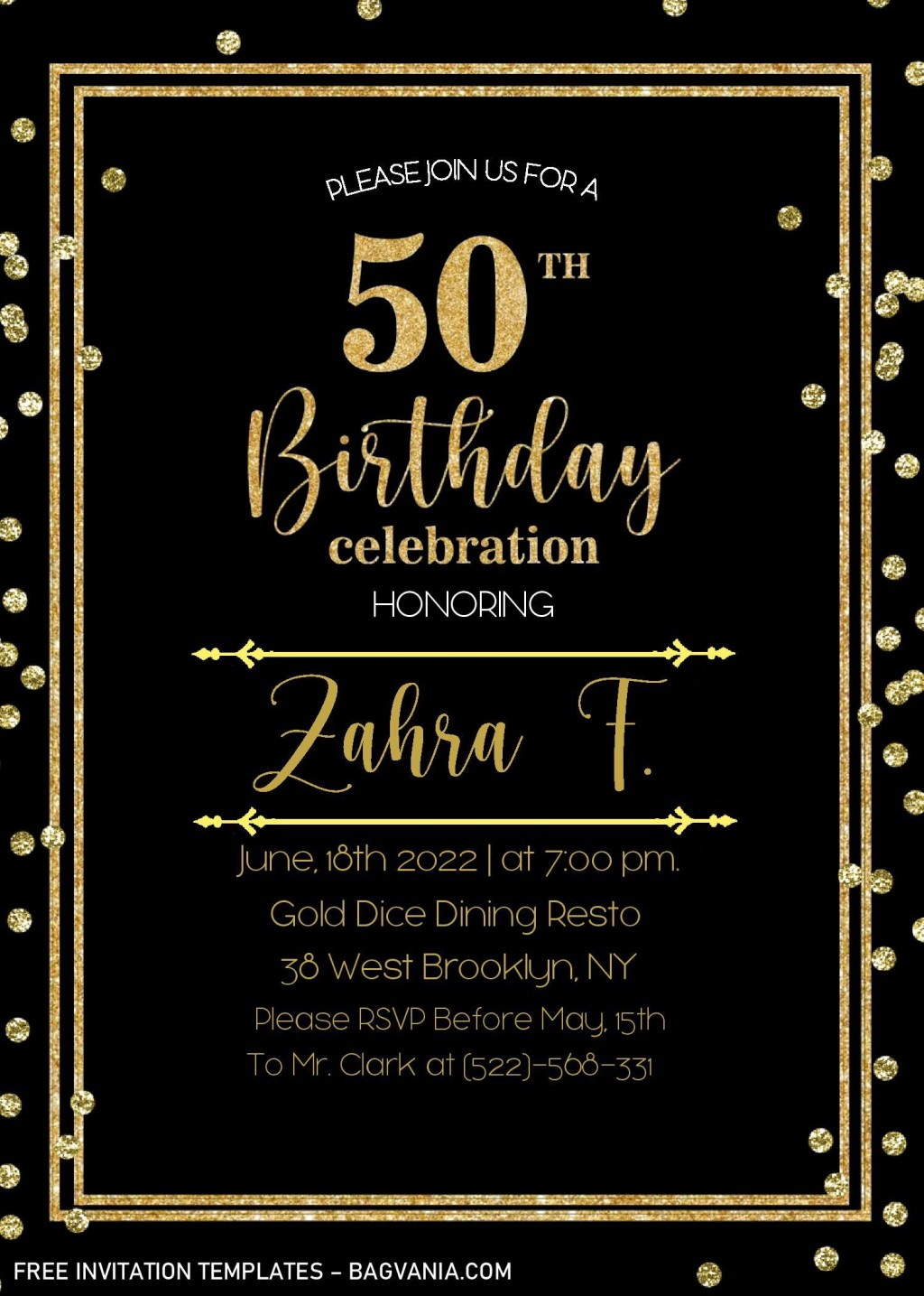 002 Striking Microsoft Word 50th Birthday Invitation Template Image  Wedding Anniversary EditableLarge