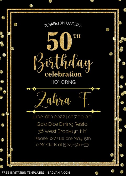 002 Striking Microsoft Word 50th Birthday Invitation Template Image  Wedding Anniversary Editable480