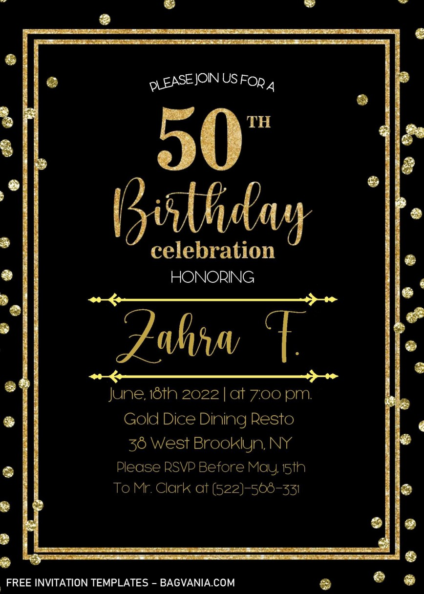 002 Striking Microsoft Word 50th Birthday Invitation Template Image  Editable Wedding Anniversary868