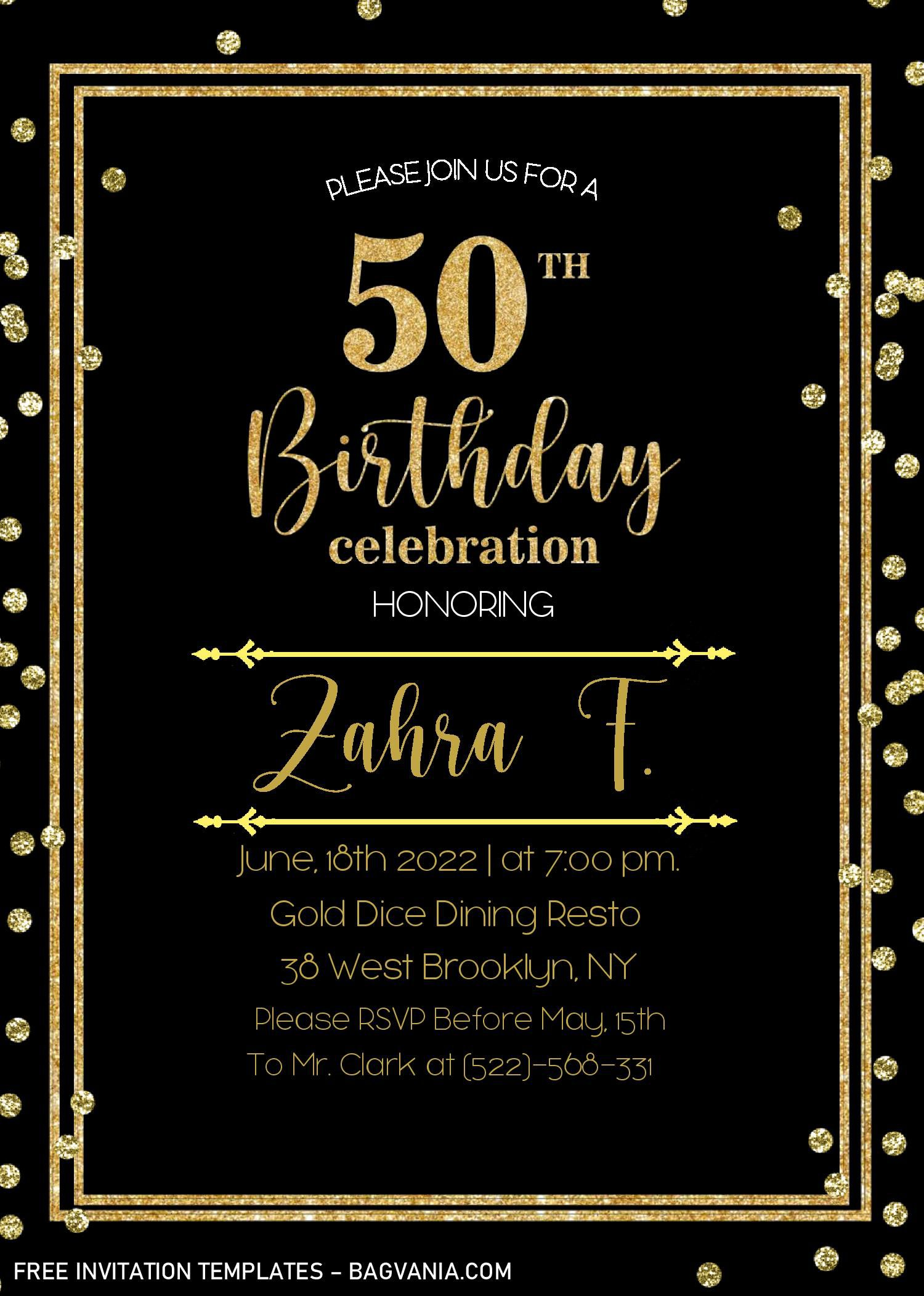 002 Striking Microsoft Word 50th Birthday Invitation Template Image  Wedding Anniversary EditableFull
