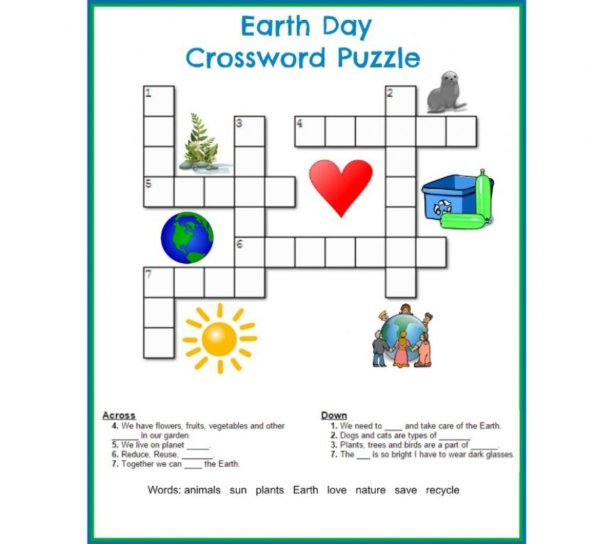 002 Striking Printable Crossword Puzzle For Kid High Definition 868
