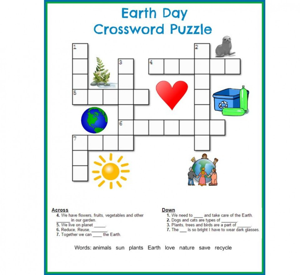 002 Striking Printable Crossword Puzzle For Kid High Definition 960