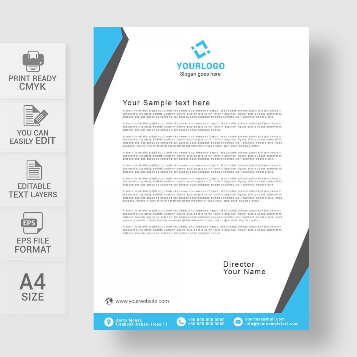 002 Striking Sample Letterhead Template Free Download Picture  Professional Design In Word Format1400