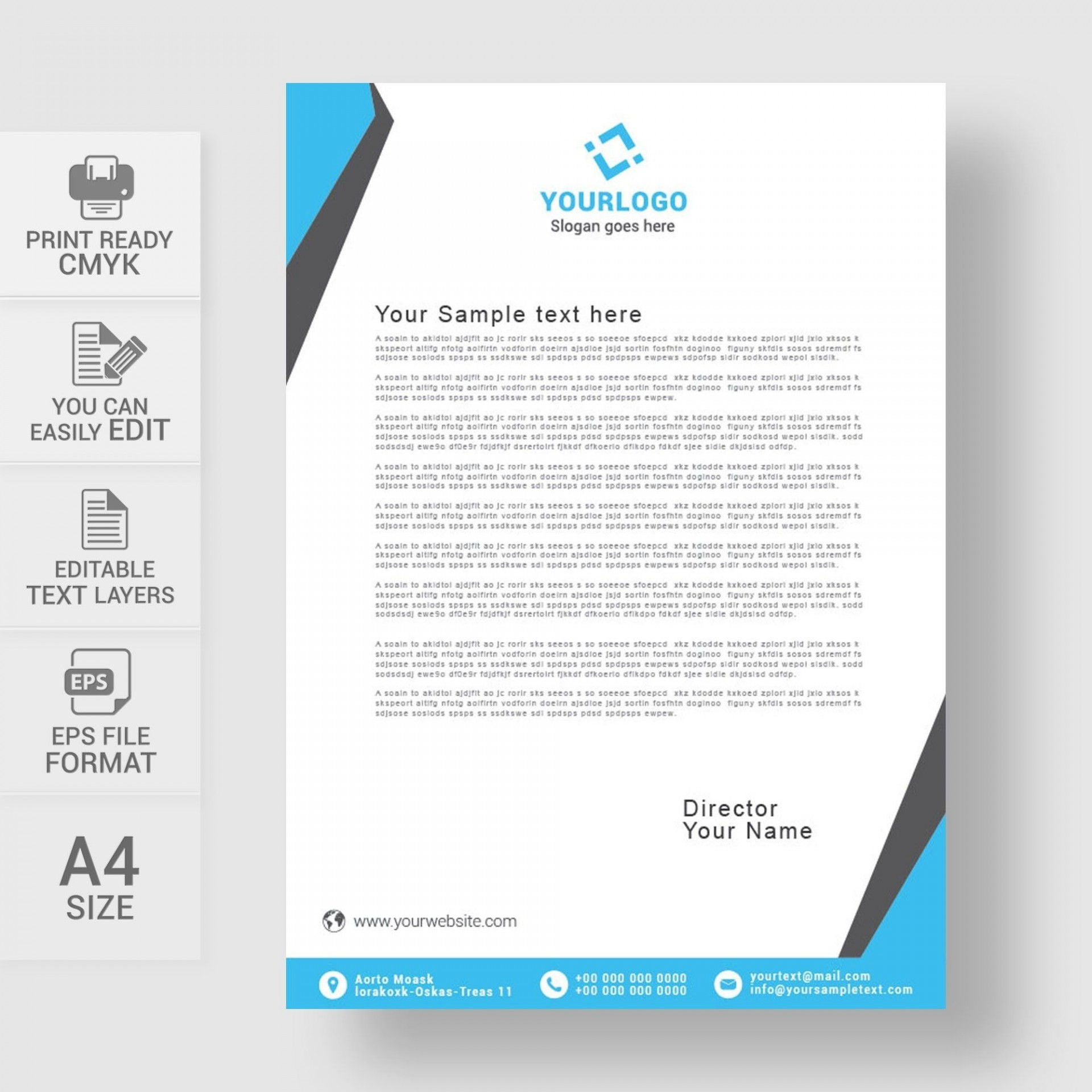 002 Striking Sample Letterhead Template Free Download Picture  Professional Design In Word Format1920
