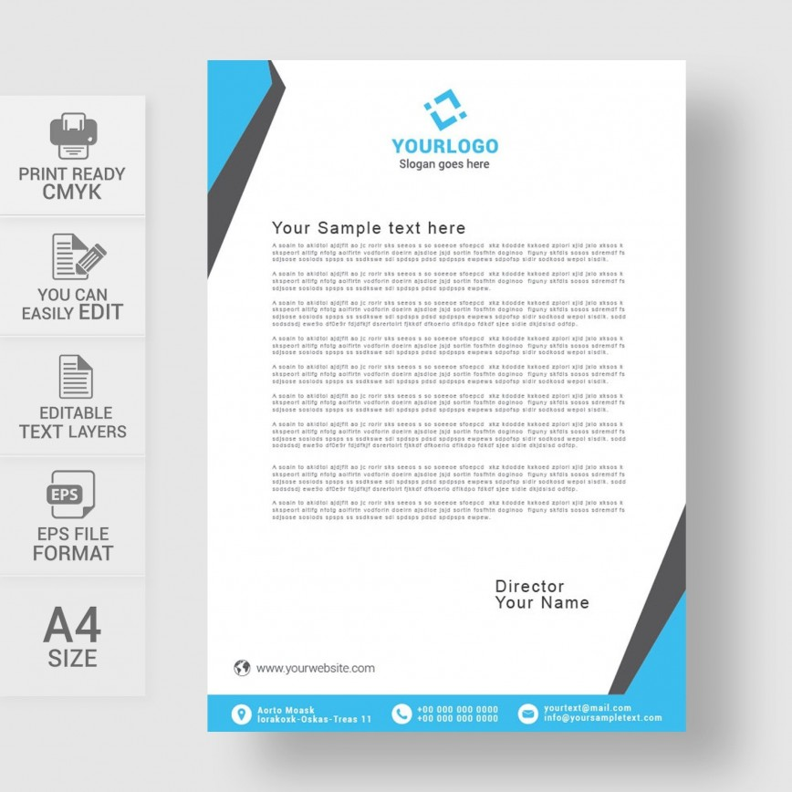 002 Striking Sample Letterhead Template Free Download Picture  Professional Design In Word Format868