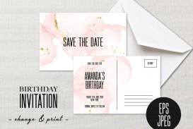 002 Striking Save The Date Birthday Card Template Image  Free Printable