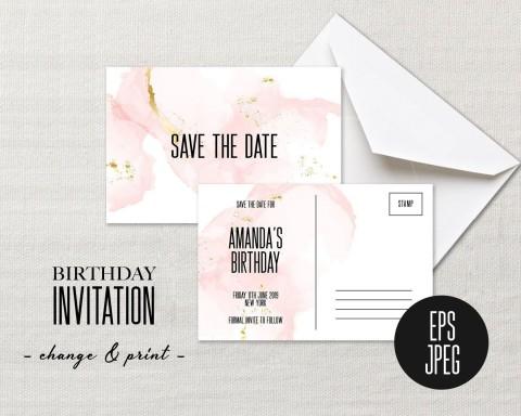 002 Striking Save The Date Birthday Card Template Image  Free Printable480
