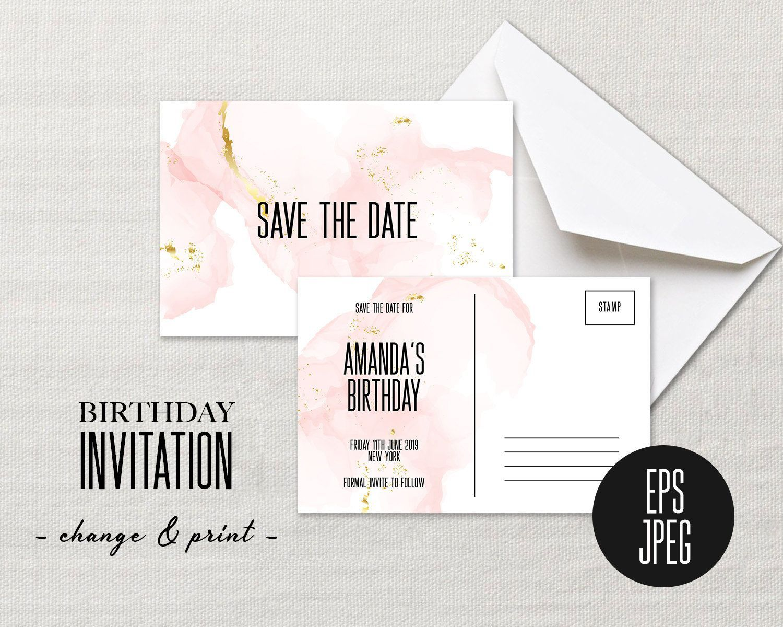 002 Striking Save The Date Birthday Card Template Image  Free PrintableFull