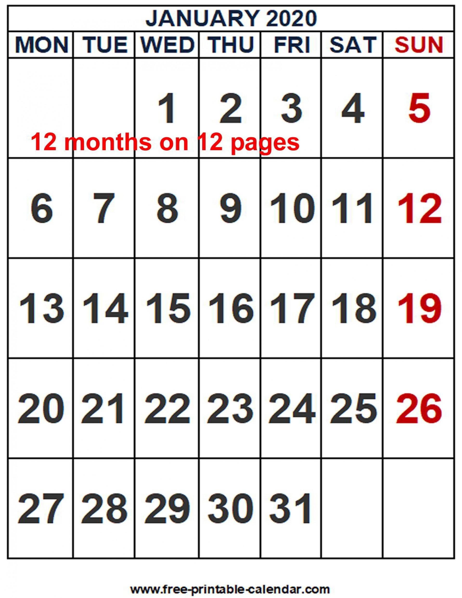 002 Striking Word 2020 Monthly Calendar Template Inspiration  Uk Free1920