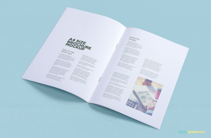 002 Stunning A4 Brochure Template Psd Free Download High Resolution  Tri Fold Size