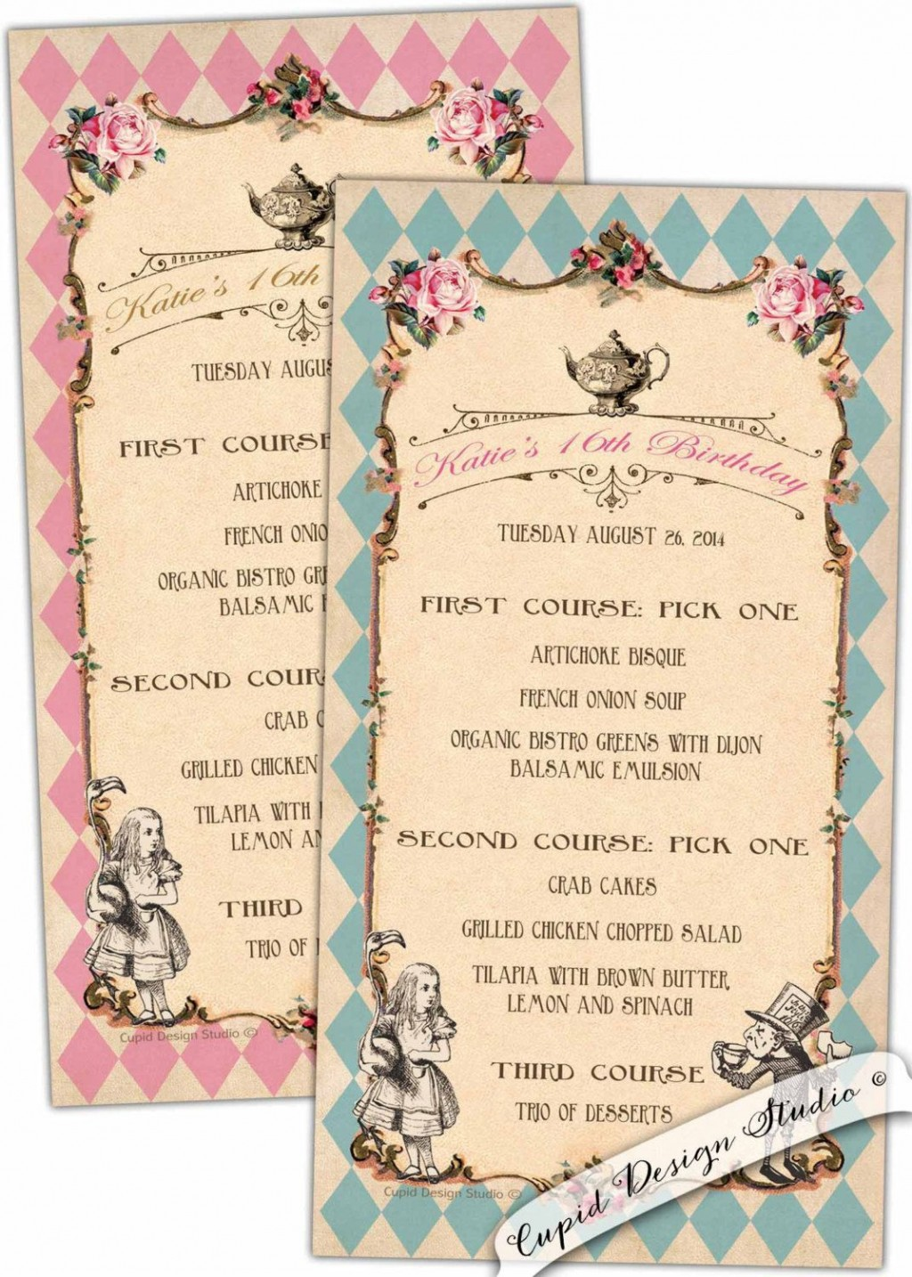 002 Stunning Alice In Wonderland Party Template Example  Templates Invitation FreeLarge