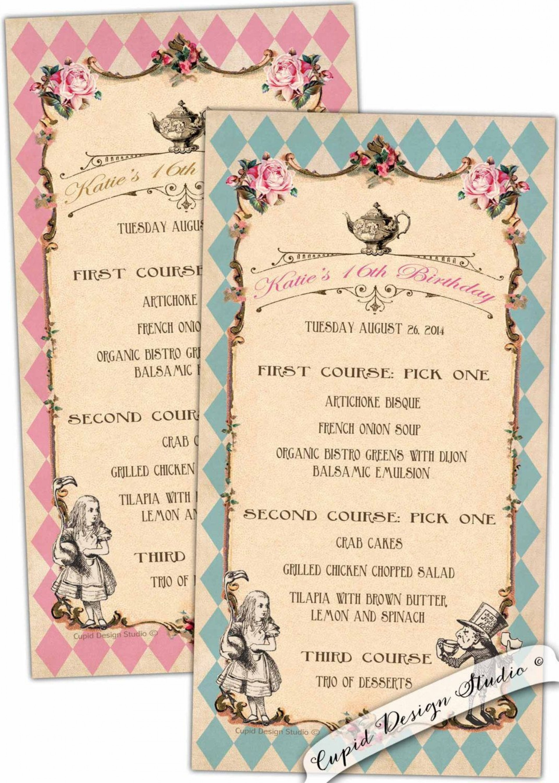 002 Stunning Alice In Wonderland Party Template Example  Templates Invitation Free1920