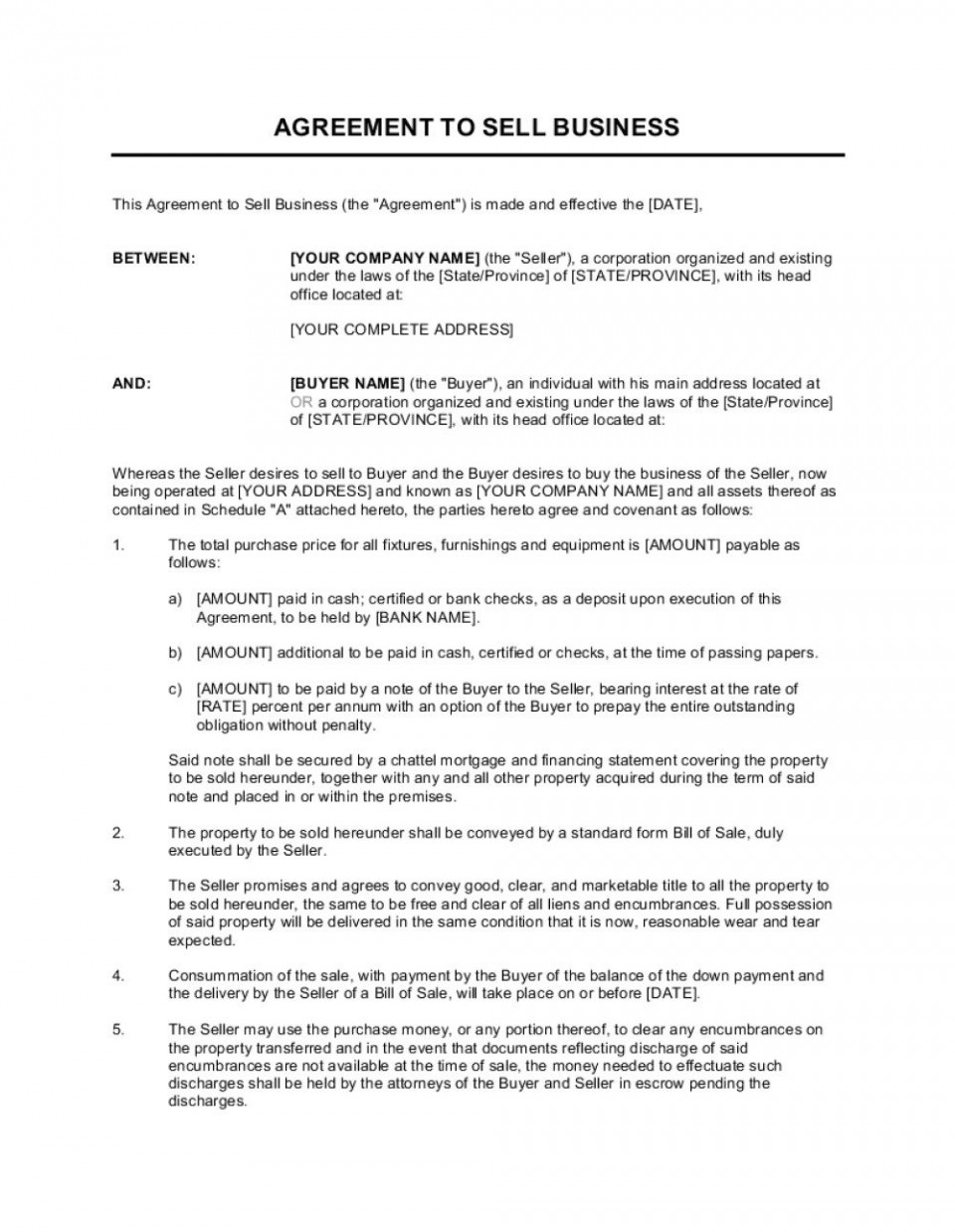 002 Stunning Busines Sale Agreement Template Example  Western Australia Free Uk Download South Africa960