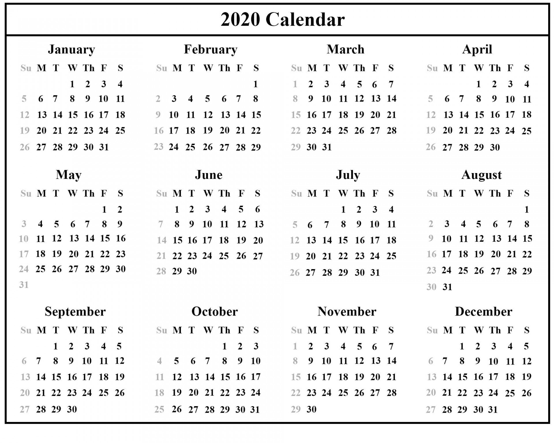 002 Stunning Calendar Template Free Download Design  2020 Powerpoint Table 2019 Malaysia1920