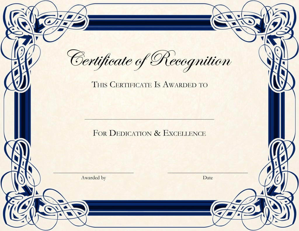 002 Stunning Certificate Of Recognition Template Word Highest Quality  Award Microsoft FreeLarge