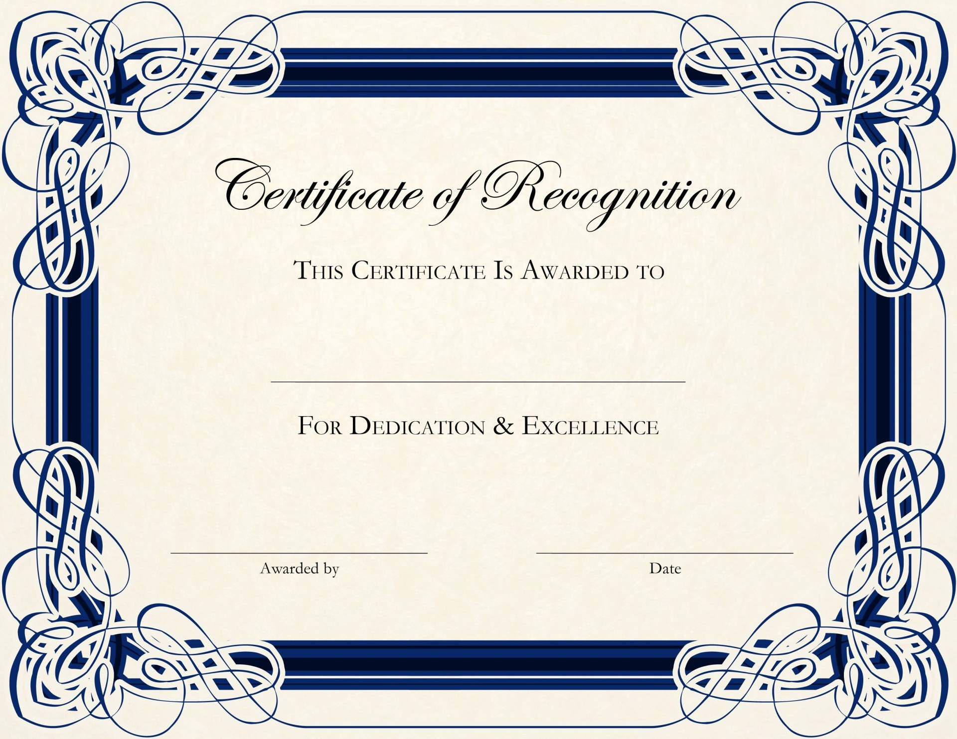 002 Stunning Certificate Of Recognition Template Word Highest Quality  Award Microsoft Free1920
