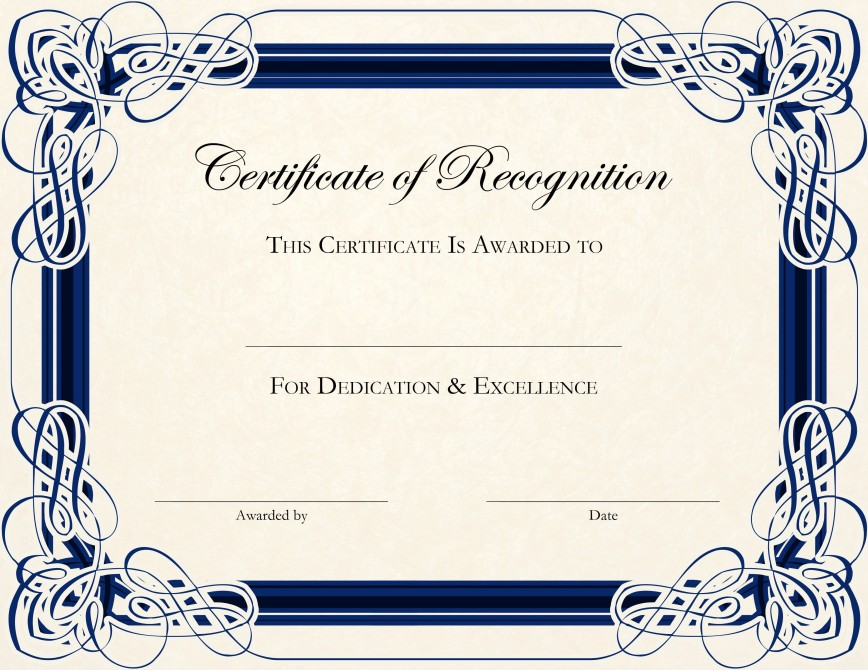 002 Stunning Certificate Of Recognition Template Word Highest Quality  Award Free Download Deped
