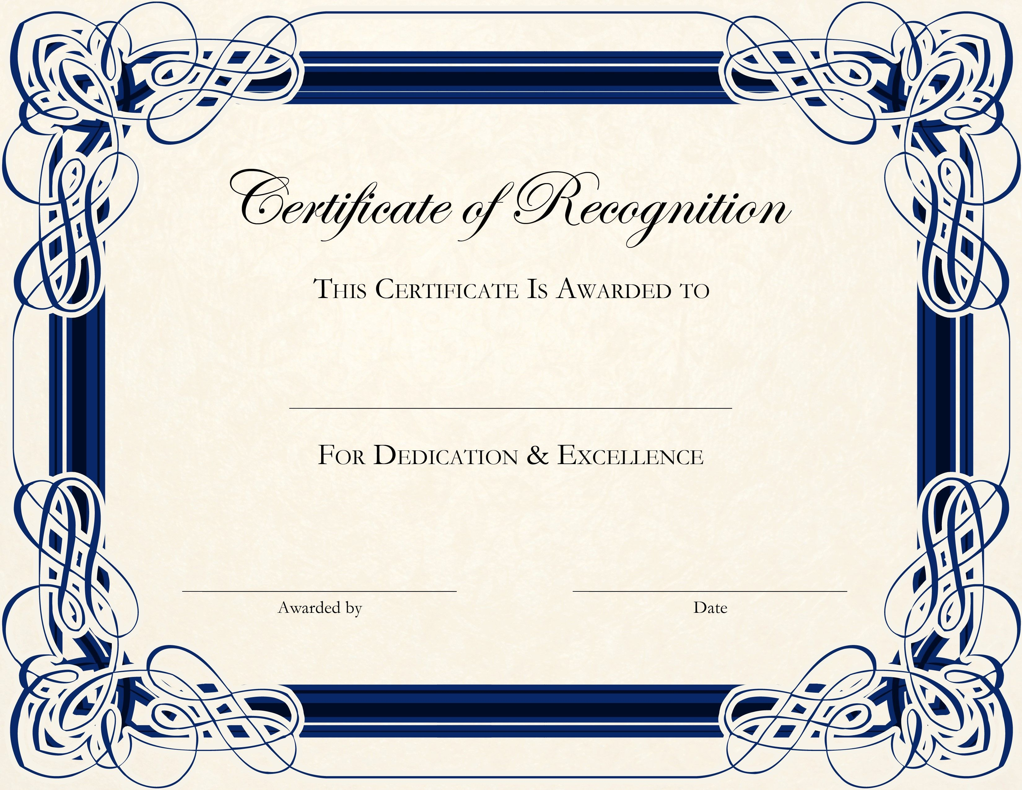 002 Stunning Certificate Of Recognition Template Word Highest Quality  Award Microsoft FreeFull