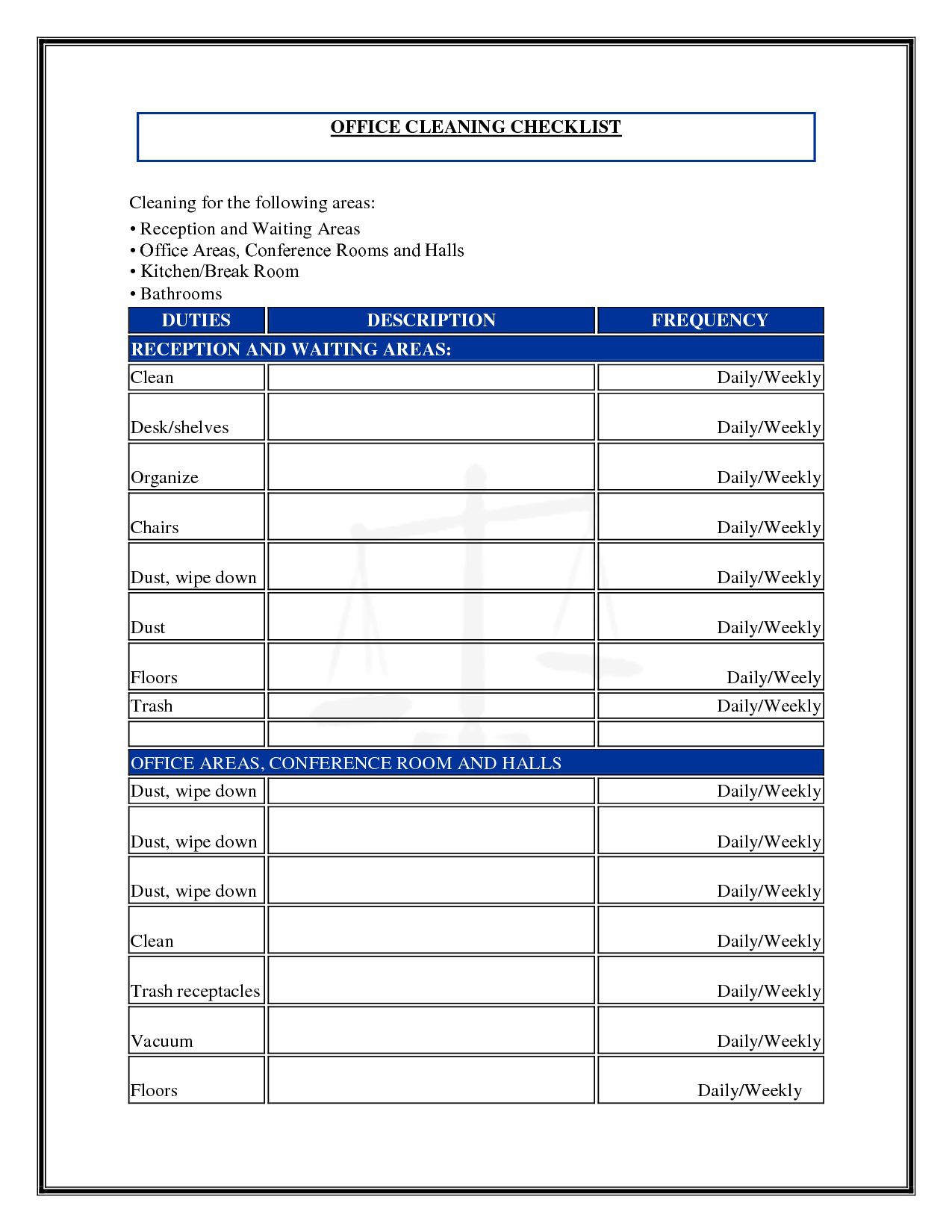 Cleaning Schedule Template For Office ~ Addictionary