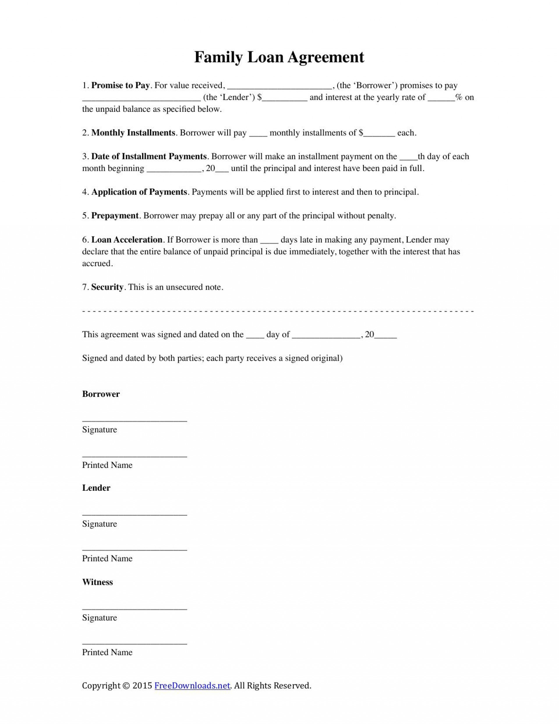 002 Stunning Family Loan Agreement Template Highest Clarity  Nz Uk Free1920