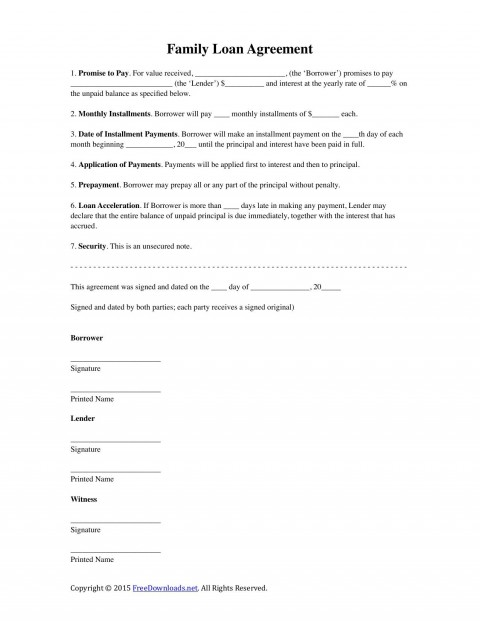 002 Stunning Family Loan Agreement Template Highest Clarity  Nz Uk Free480