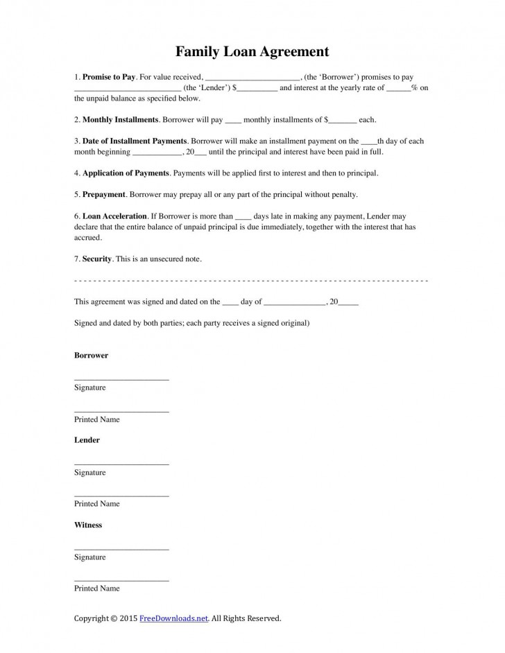 002 Stunning Family Loan Agreement Template Highest Clarity  Nz Uk Free728