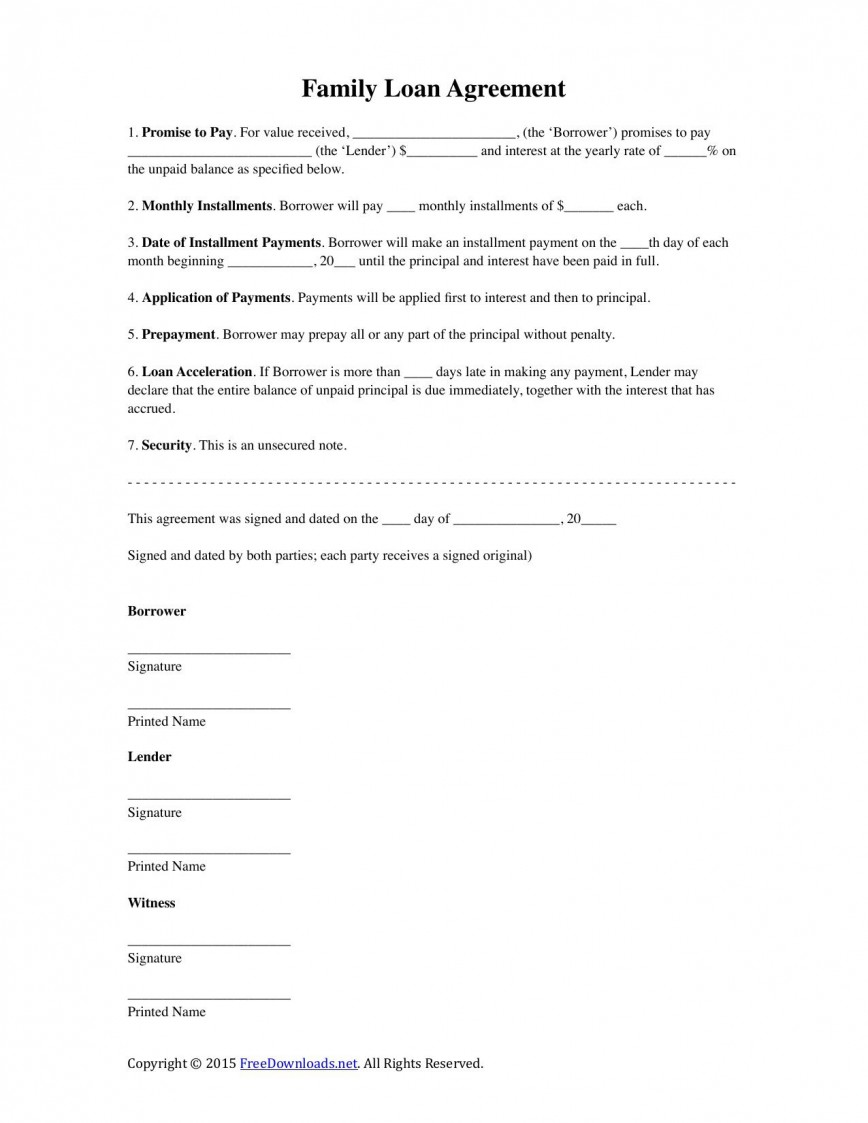 002 Stunning Family Loan Agreement Template Highest Clarity  Nz Uk Free868