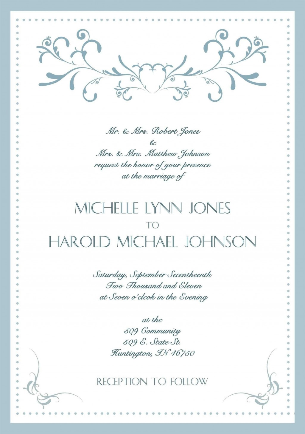 002 Stunning Formal Wedding Invitation Template High Resolution  Templates Email Format Wording FreeLarge
