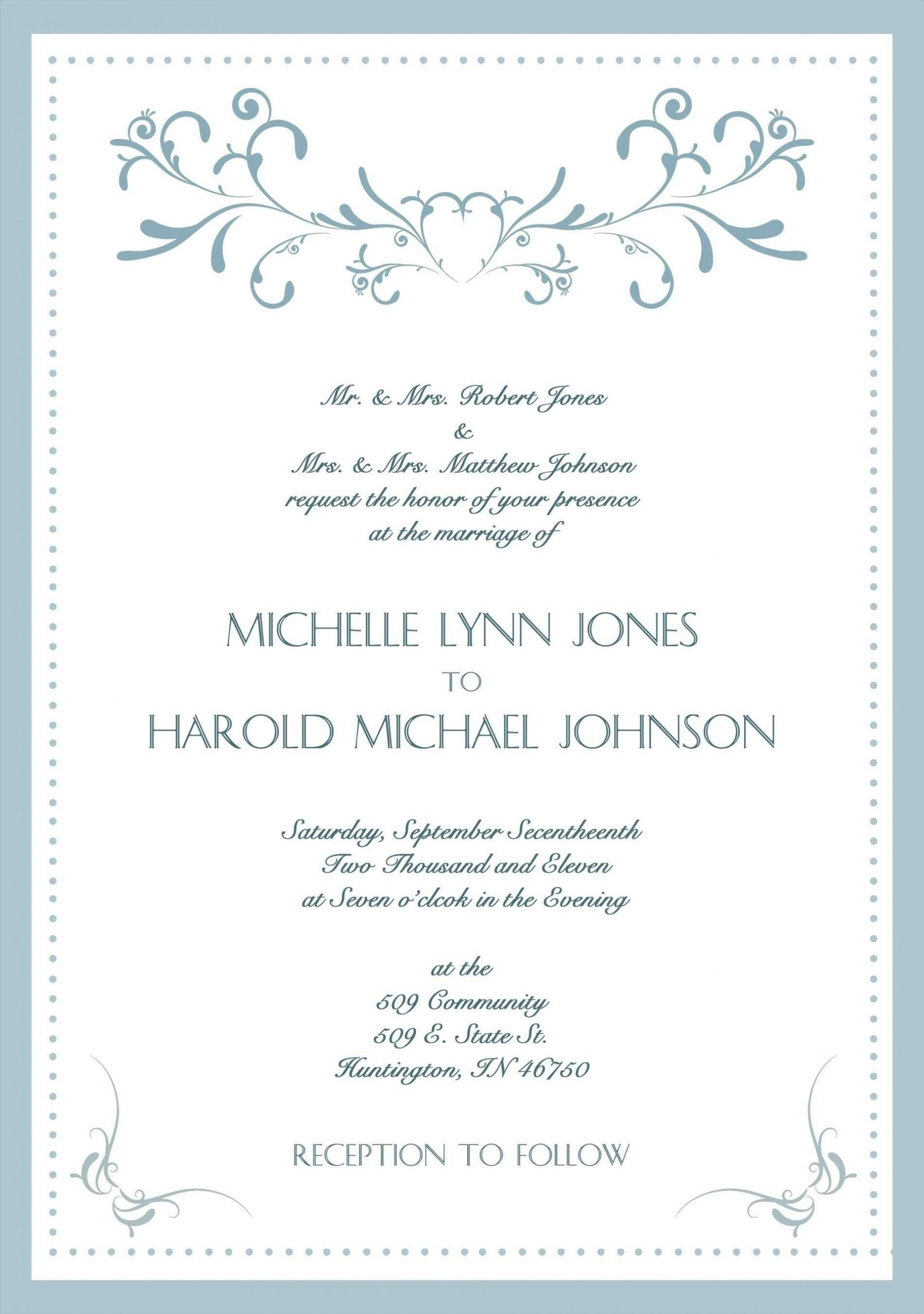 002 Stunning Formal Wedding Invitation Template High Resolution  Templates Email Format Wording Free1920