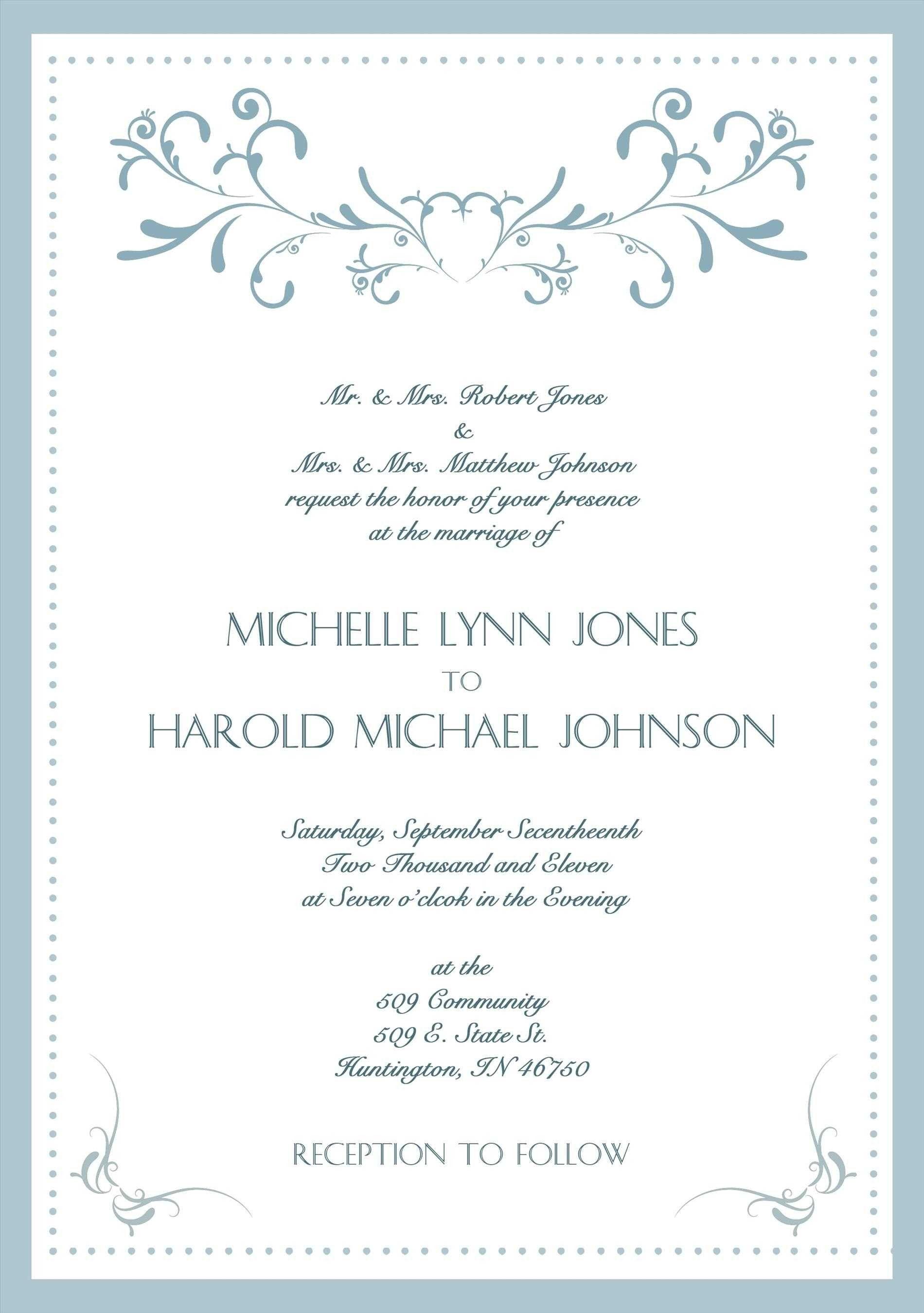 002 Stunning Formal Wedding Invitation Template High Resolution  Templates Email Format Wording FreeFull