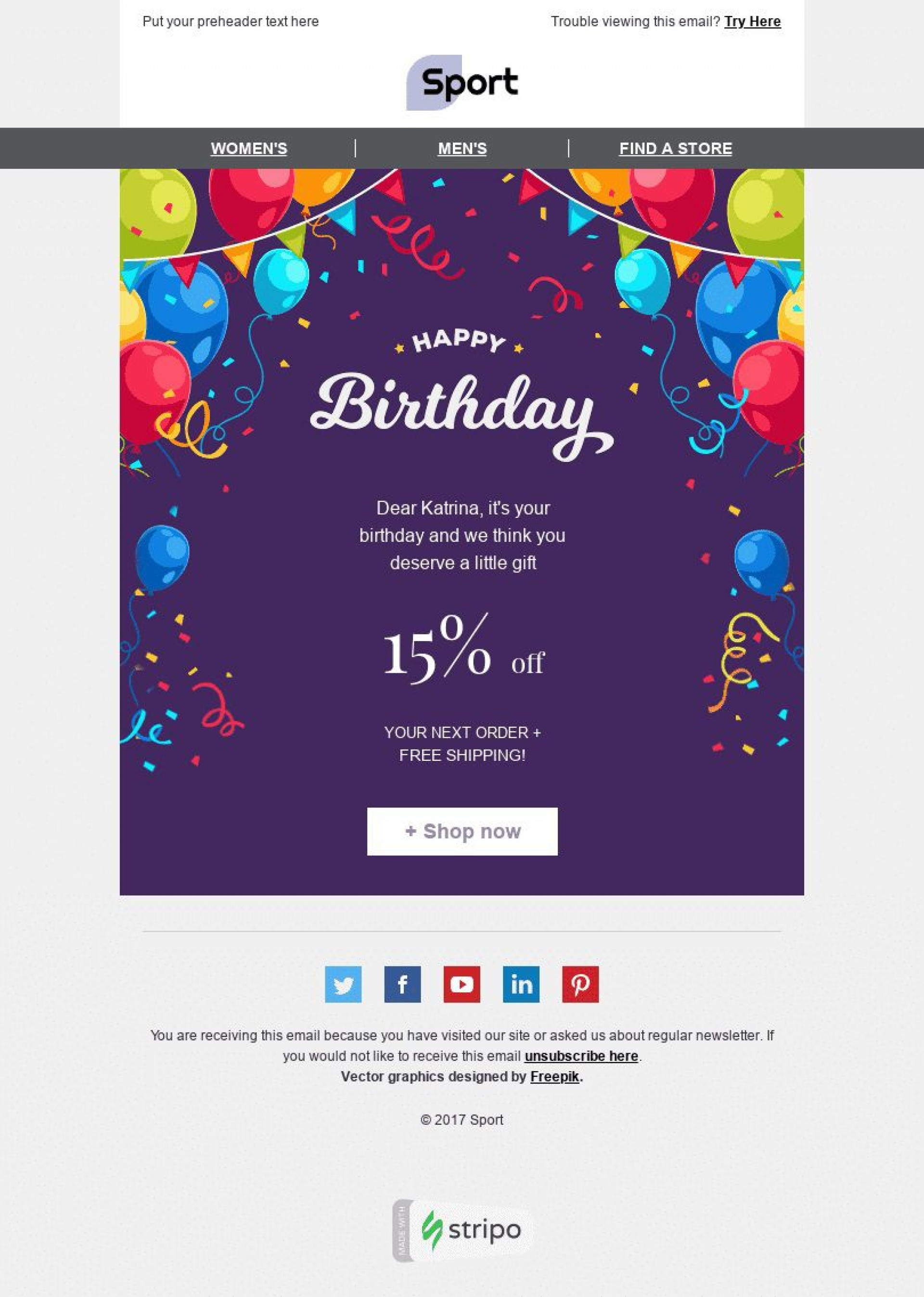 002 Stunning Happy Birthday Email Template Highest Clarity  Html To Employee Corporate1920