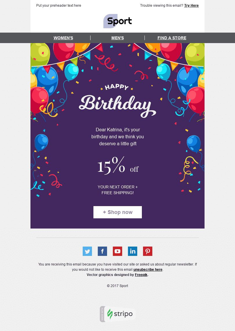 002 Stunning Happy Birthday Email Template Highest Clarity  Html To Employee CorporateFull
