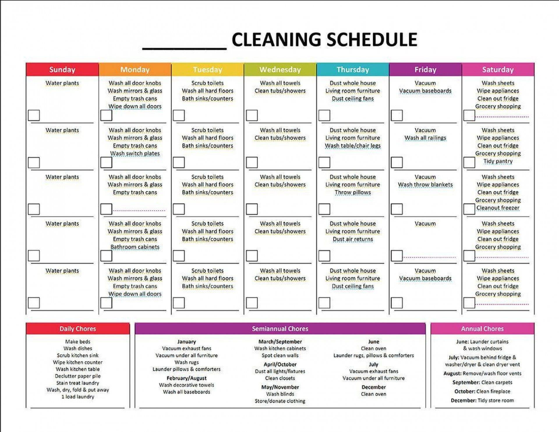 002 Stunning House Cleaning Schedule Template Excel Sample Full
