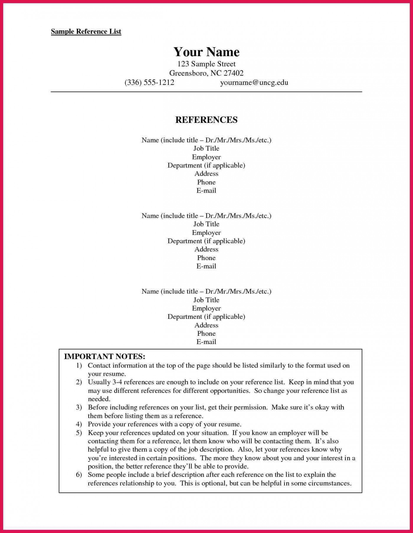 002 Stunning List Of Professional Reference Sample Idea  Template Employment Format Job Example1400