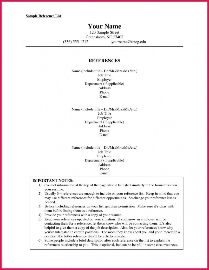 002 Stunning List Of Professional Reference Sample Idea  Template Employment Format Job Example868