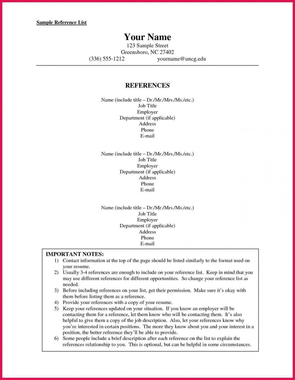 002 Stunning List Of Professional Reference Sample Idea  Template Employment Format Job Example960