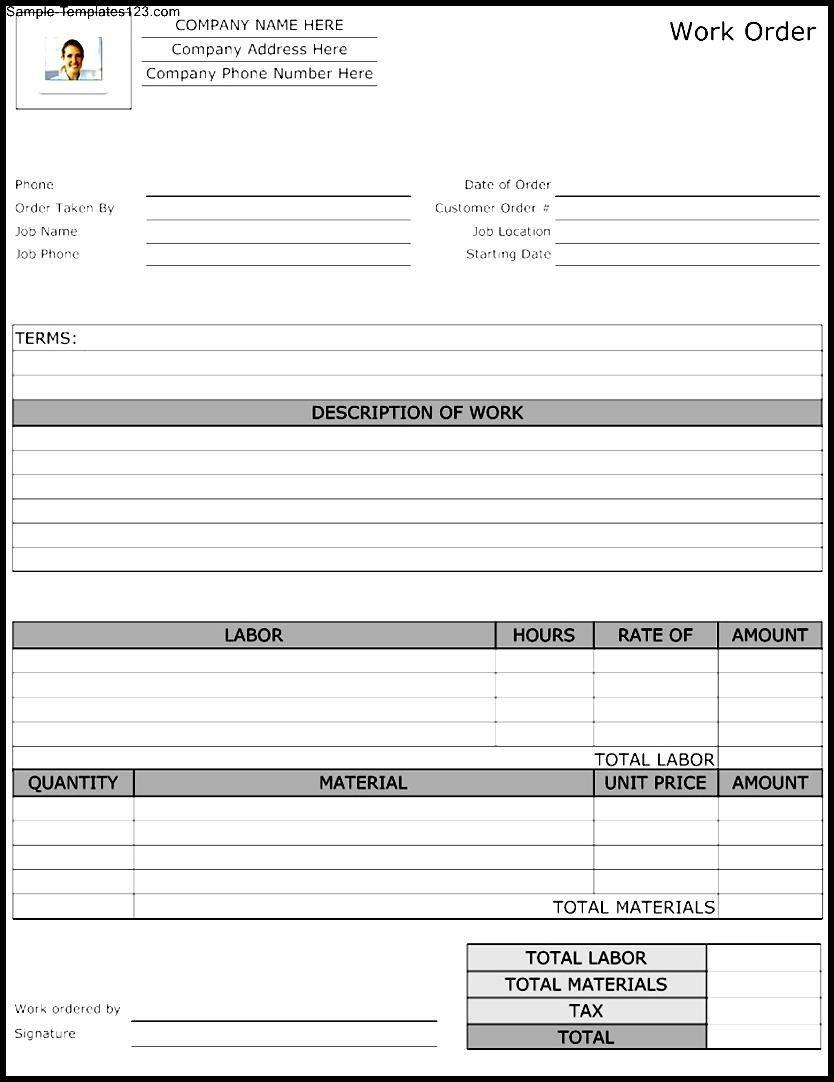 002 Stunning Maintenance Work Order Template Photo  Form Free SampleFull