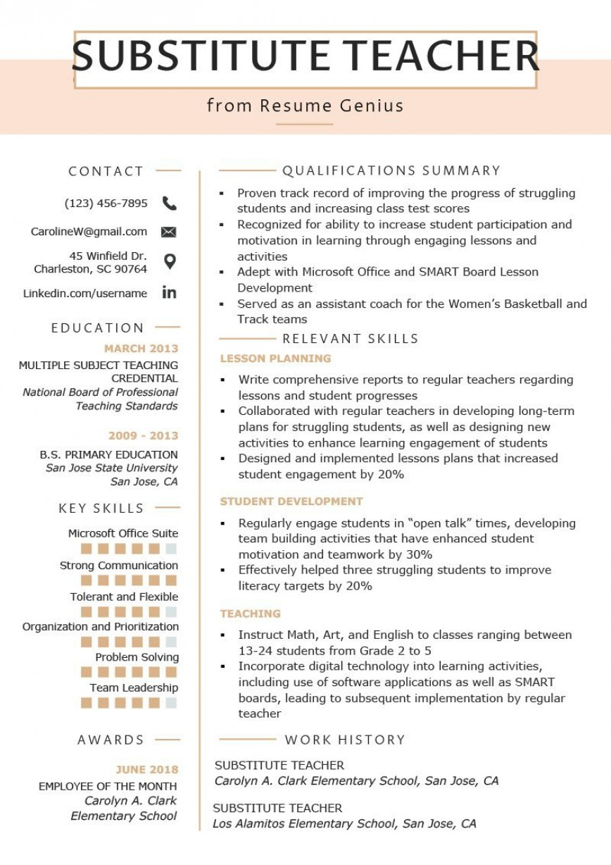 002 Stunning Resume Template For Teaching High Def  Example Assistant Cv Uk Job868