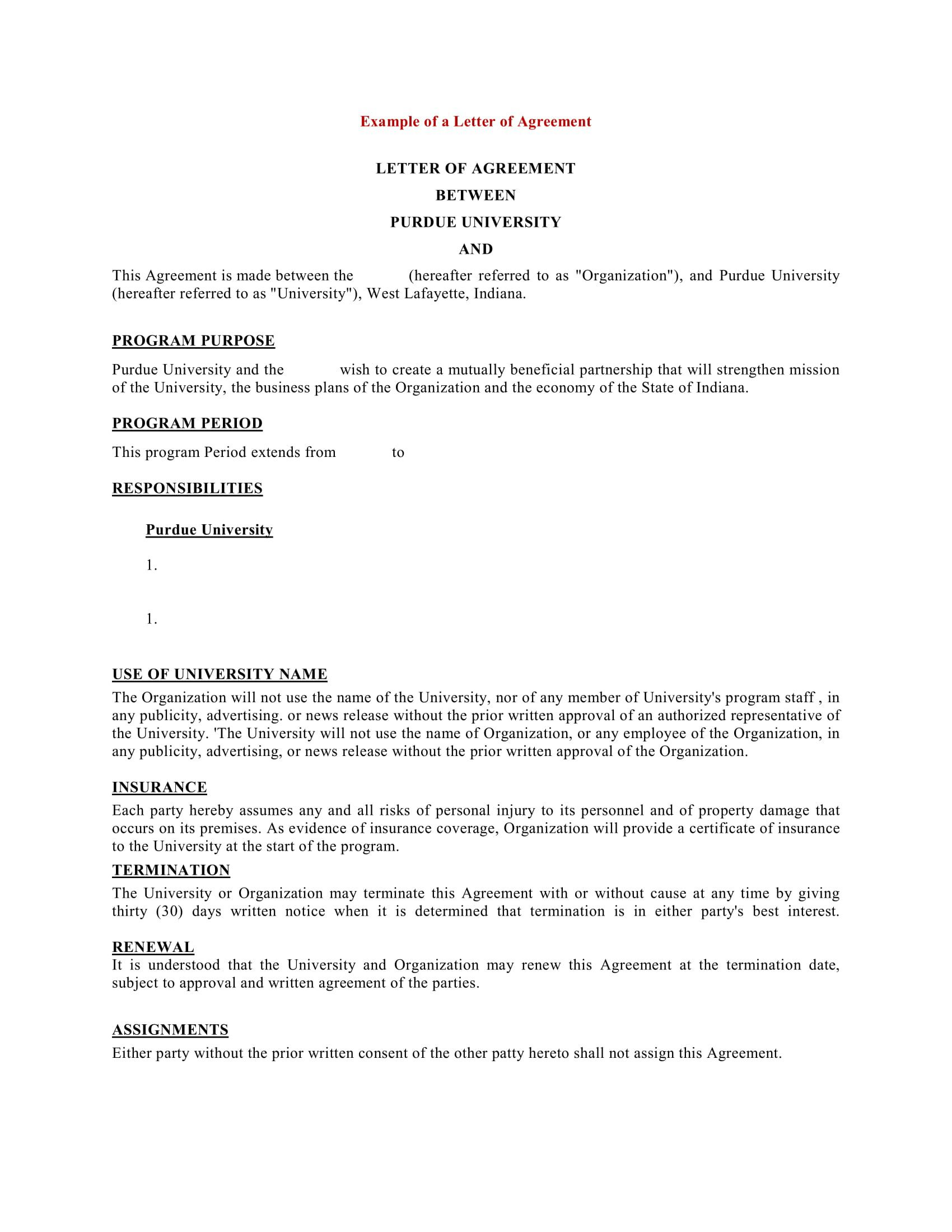 002 Stunning Sample Letter Of Agreement Template High Resolution  For A In Project PrepareFull