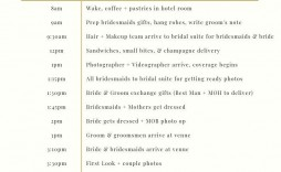 002 Stunning Wedding Day Itinerary Template Design  Timeline Reception Free For Bridal Party