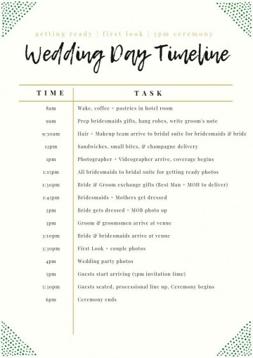 002 Stunning Wedding Day Itinerary Template Design  Sample Excel Word360