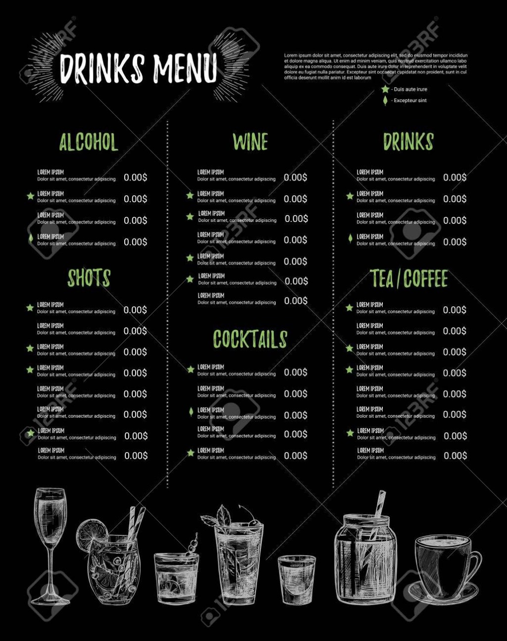 002 Stupendou Bar Menu Template Free Highest Quality  Download SnackLarge