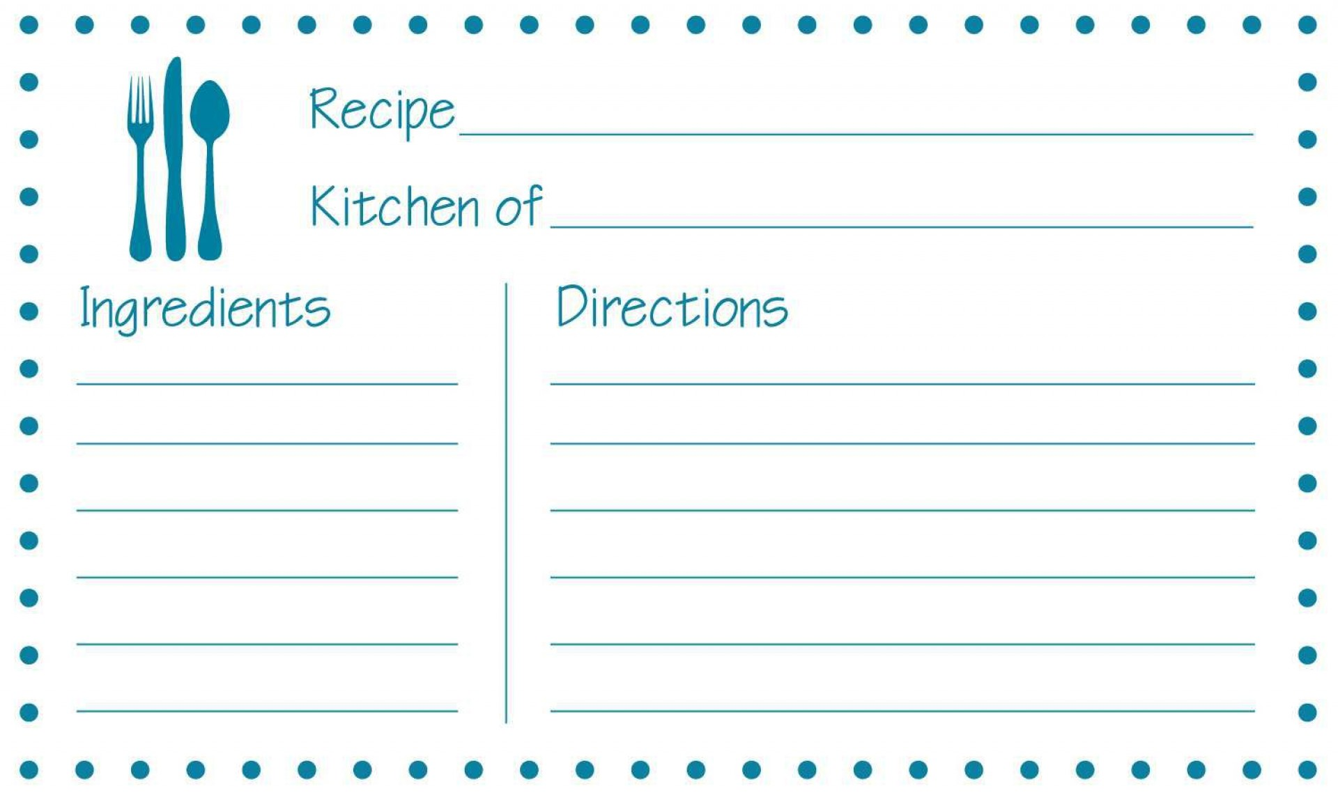 002 Stupendou Editable Recipe Card Template Highest Quality  Free For Microsoft Word 4x6 Page1920