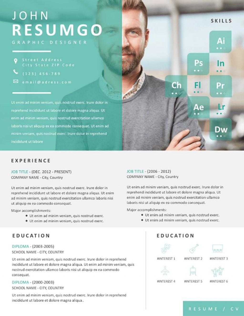 002 Stupendou Eye Catching Resume Template Photo  Microsoft Word Free Download MostLarge