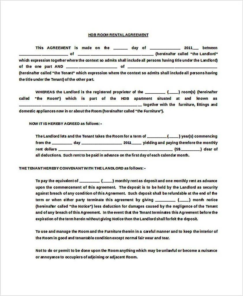 002 Stupendou Generic Room Rental Agreement Free Photo  PrintableFull