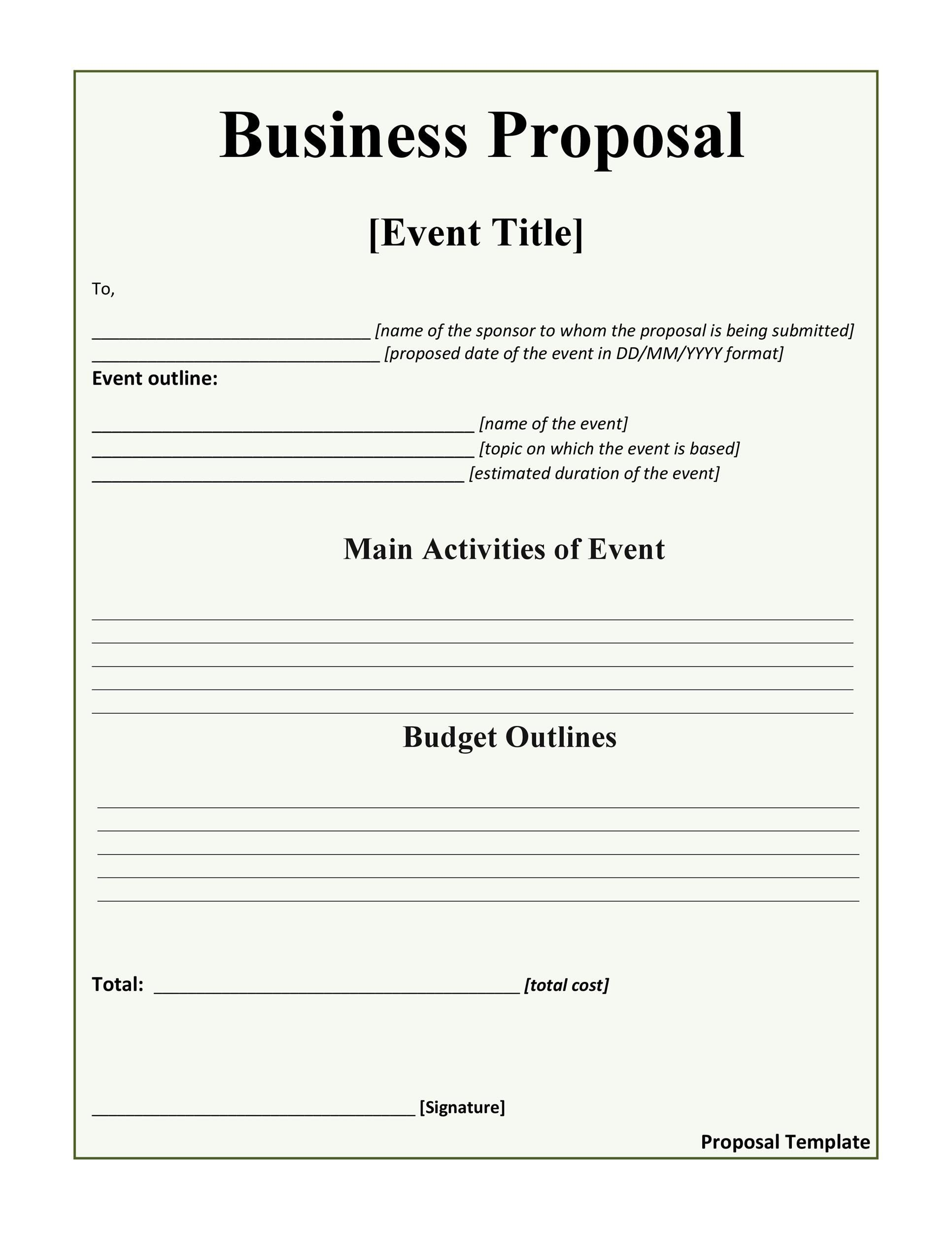 002 Stupendou Simple Busines Proposal Template Inspiration  Templates Word FreeFull