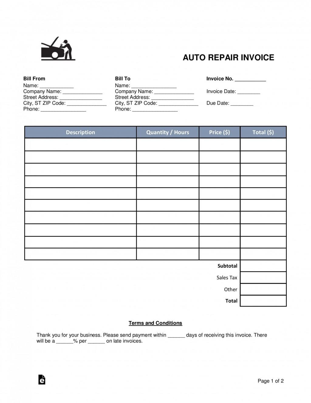 002 Surprising Auto Repair Work Order Template Excel Free Photo Large